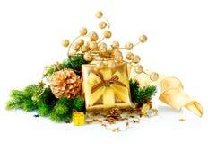 Caixa de presente e decorações do Natal Imagens de Stock Royalty Free