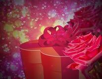 Caixa de presente e rosas ilustração stock