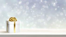 Caixa de presente festiva do White Christmas no fundo abstrato do feriado ilustração stock