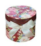 Caixa de presente floral redonda Fotos de Stock Royalty Free