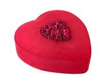 Caixa de presente Heart-shaped vermelha isolada no branco Imagem de Stock Royalty Free