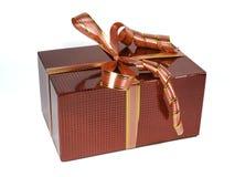 Caixa de presente holográfica vermelha bonita com curvas Fotografia de Stock