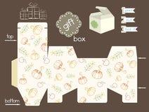 Caixa de presente imprimível com abóboras e maçãs e flores Fotografia de Stock Royalty Free