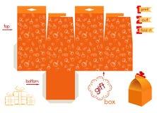 Caixa de presente imprimível com teste padrão das abóboras Foto de Stock Royalty Free