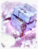Caixa de presente mágica e uma chave Fotografia de Stock Royalty Free