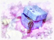 Caixa de presente mágica e uma chave Foto de Stock Royalty Free