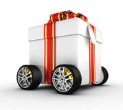 Caixa de presente nas rodas ilustração royalty free