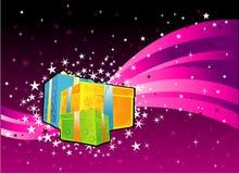 Caixa de presente no fundo do Natal Imagens de Stock Royalty Free