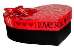 Caixa de presente preta e vermelha Fotografia de Stock Royalty Free