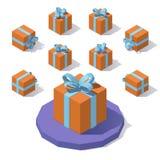 Caixa de presente quadrada do Natal Imagem de Stock