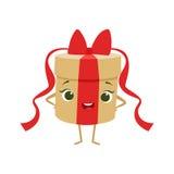 A caixa de presente redonda com curva vermelha caçoa dos desenhos animados animados do objeto da festa de anos o caráter feminino Foto de Stock