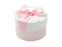 Caixa de presente redonda cor-de-rosa bonito Fotografia de Stock