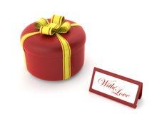 Caixa de presente redonda vermelha Fotos de Stock Royalty Free