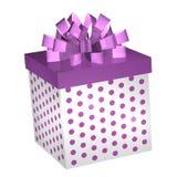 Caixa de presente roxa com fita Imagens de Stock