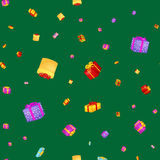 A caixa de presente sem emenda do teste padrão para o feriado apresenta com fitas e curvas, fundo dos presentes de Natal, feliz a ilustração stock