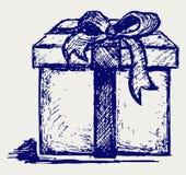 Caixa de presente sobre ilustração royalty free