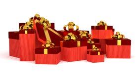 Caixa de presente sobre o fundo branco Imagens de Stock Royalty Free