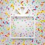 Caixa de presente vazia com fita e confetes Foto de Stock
