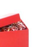 Caixa de presente vermelha aberta Imagem de Stock Royalty Free
