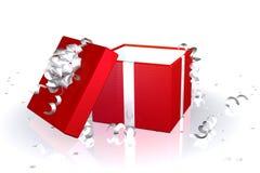Caixa de presente vermelha aberta Imagens de Stock Royalty Free