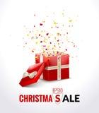 Caixa de presente vermelha aberta com fita e confetes do voo Fundo da venda do Natal Ilustração do vetor ilustração royalty free