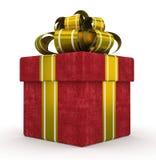 Caixa de presente vermelha com a curva do ouro isolada no fundo branco 3 Imagens de Stock Royalty Free
