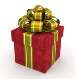 Caixa de presente vermelha com a curva do ouro isolada no fundo branco 5 Fotos de Stock Royalty Free