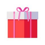 Caixa de presente vermelha com fita cor-de-rosa Imagens de Stock Royalty Free