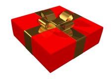 Caixa de presente vermelha com fita dourada Imagens de Stock