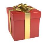 Caixa de presente vermelha com fita dourada Imagens de Stock Royalty Free