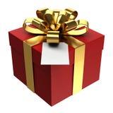 Caixa de presente vermelha com fita dourada e o cartão de papel, fundo transparente do png Fotografia de Stock