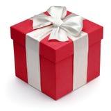 Caixa de presente vermelha com fita e curva brancas. Fotos de Stock