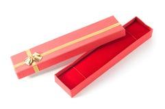 Caixa de presente vermelha por muito tempo aberta Fotografia de Stock