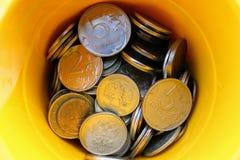 Caixa de rublos de russo das moedas Imagem de Stock