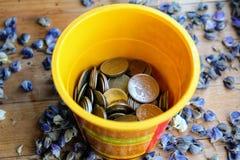 Caixa de rublos de russo das moedas Fotos de Stock