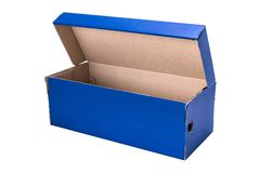 Caixa de sapata azul isolada no fundo branco imagens de stock