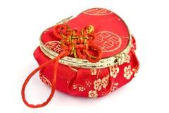Caixa de seda vermelha isolada Fotografia de Stock