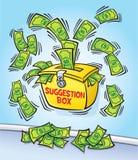 Caixa de sugestão com dinheiro ilustração royalty free