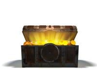 Caixa de tesouro com ouro ilustração do vetor
