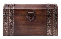 Caixa de tesouro de madeira fechada Imagens de Stock Royalty Free
