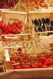 Caixa de tomates de cereja na fruta e no indicador de Veg Foto de Stock