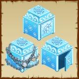 Caixa de três azuis do gelo, aberto e fechado ilustração stock