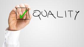 Caixa de verificação interna da qualidade da verificação verde pequena Imagens de Stock Royalty Free