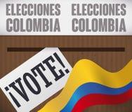 Caixa de votação com voto e bandeira para eleições de Colômbia, ilustração do vetor Fotografia de Stock Royalty Free