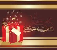 Caixa decorativa com flocos de neve e curva vermelha. Cartão Fotografia de Stock Royalty Free