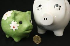 Caixa do cofre forte de dois porcos Fotografia de Stock