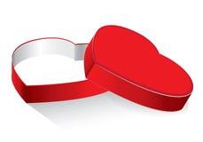 Caixa do coração e presente brilhante no fundo branco Valentim e dia do casamento no feriado Caixa de presente vermelha do coraçã Foto de Stock Royalty Free
