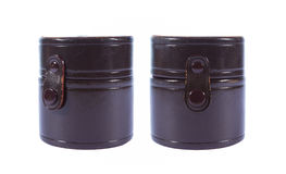 Caixa do couro do marrom do cilindro da coleção Imagens de Stock Royalty Free