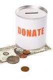 Caixa do dólar e da doação Foto de Stock
