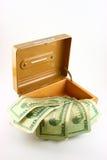 Caixa do dinheiro com contas Imagem de Stock Royalty Free